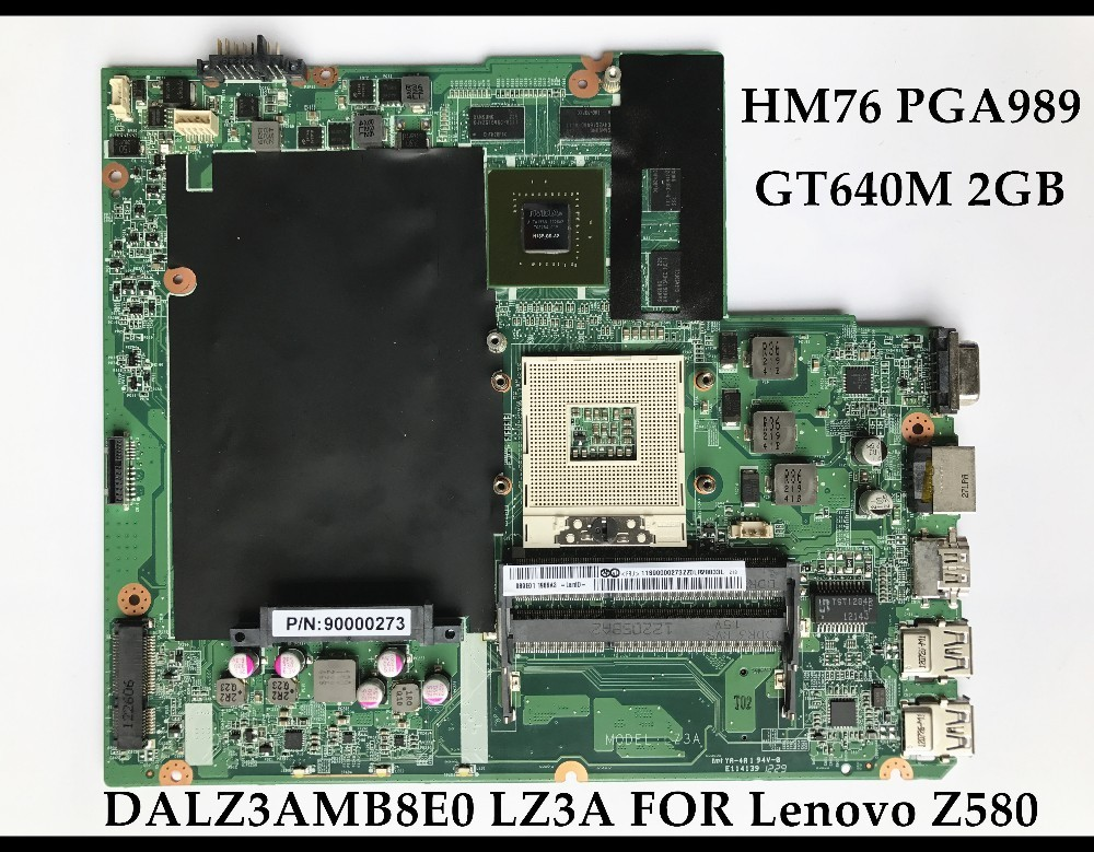 High quality for Lenovo Ideapad Z580 Laptop Motherboard 90000273 DALZ3AMB8E0 LZ3A HM76 DDR3 GT640M 2GB 100