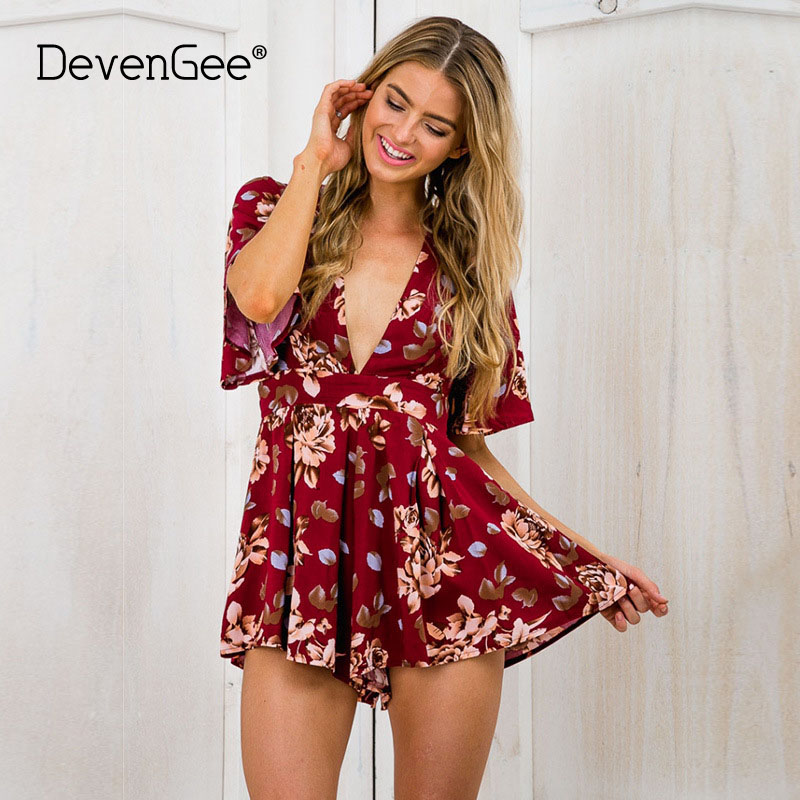 DevenGee Summer Elegant Floral Print Women Playsuit Sexy V Neck Short Sleeve   Jumpsuits   Rompers Casual Beach Overalls Plus Size