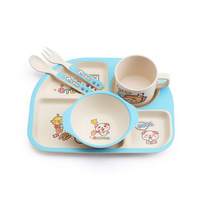 Baby Bamboo Fiber 5 Pcs/Set Tableware Set Baby Plate Children Cartoon Separation Plate Bowl Fork Spoon Cup Set Feeding For Baby