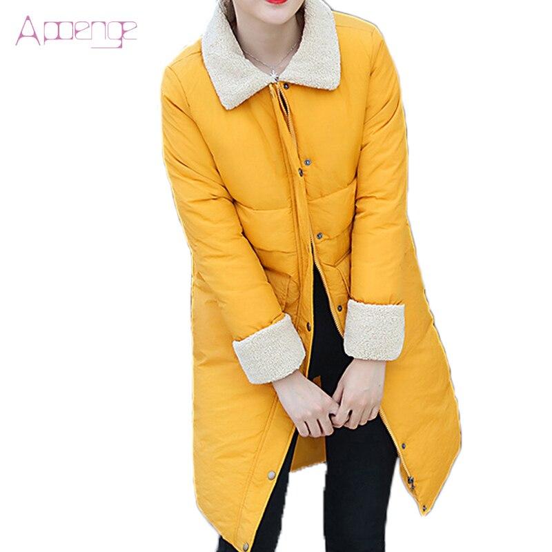 APOENGE 2017 nouveau coton manteau veste d'hiver femmes long vestes vêtements chauds neige manteaux slim bouton parkas avec poche LZ377