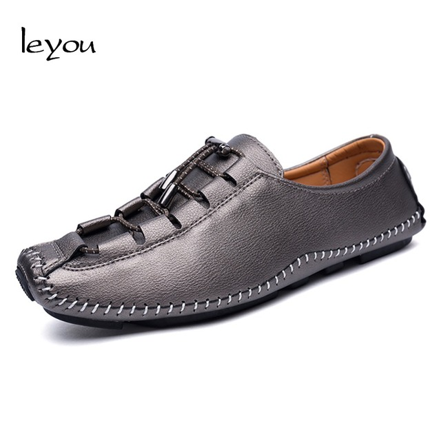Men's Casual Leather Loafers Shoes Lightweight Slip On Moccasins
