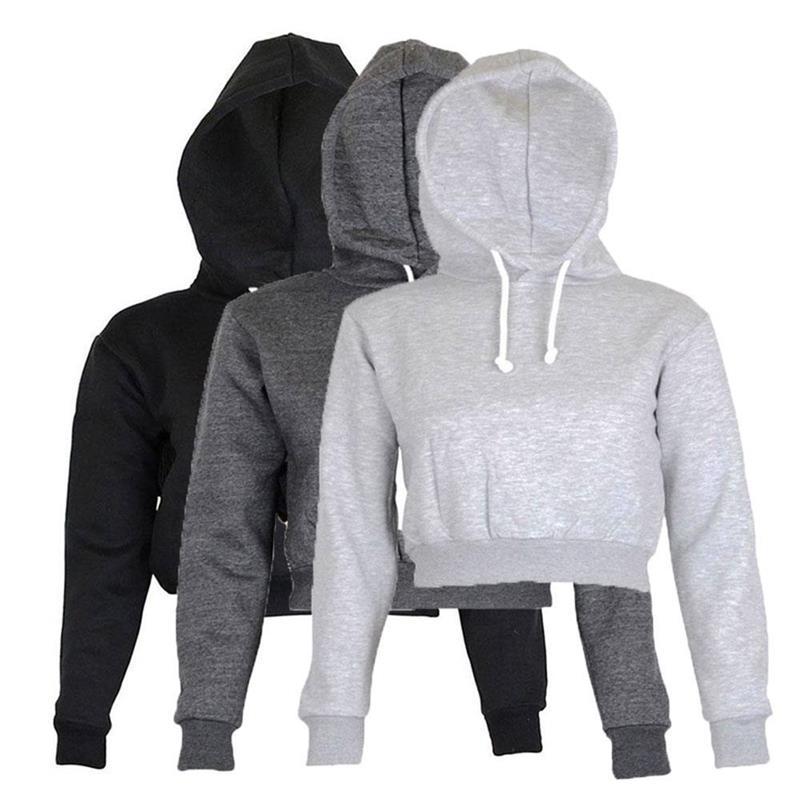 Hot Koop Fation Dames Korte Hooded Hoodies Sweatshirts Plain Crop Top Hoodie Hooded lange mouwen Sweatshirt Kater