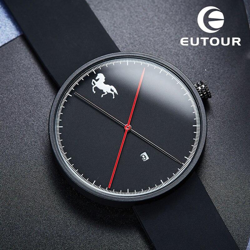 Prix pour 2017 EUTOUR Noir Nouveau Rouge Dot Awards Minimaliste Montres Bracelet En Caoutchouc Cheval Analogique Hommes de Quartz montre Horloge De Mode Casual sport