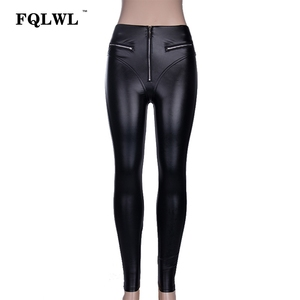 Image 4 - FQLWL Sexy PU Leather Pants Women Trousers Black High Waist Pants Female Hip Push Up Stretch Skinny Pencil Pants Ladies Leggings