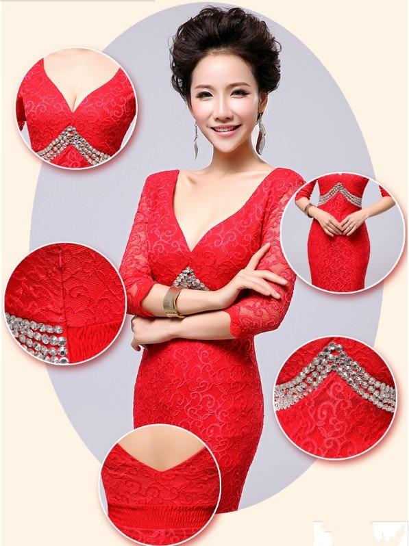 v-образным вырезом платье с поясом длинное вечернее платье халат de soiree Abiti да сывороток vestido de festa longo com H0296 - Цвет: Red