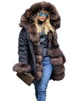 Roiii 2018 New Casual Cafe Brown Thicken Faux Fur Warm Parka Women Hooded Long Winter Jacket Coat Overcoat Snow Wear Coat