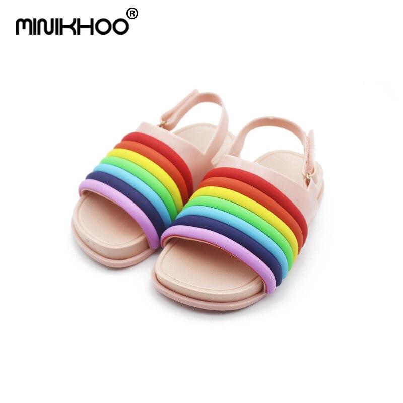 Mini Melissa 2018 New Rainbow Stripes Jelly Sandals Cute Girl Shoes Non-slip  Girl Beach Sandals Melissa Baby Jelly Sandals 8021795e20e0