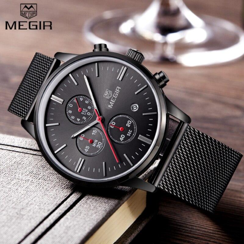 Prix pour Montres Hommes MEGIR Marque Chronographe Mode Simple Hommes Montres En Acier Inoxydable Maille Bande Quartz-Montre Mince Cadran Homme Casual horloge