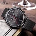 Relógios homens marca megir chronograph moda simples dos homens relógios banda de malha de aço inoxidável de quartzo-relógio de marcação fina homem ocasional relógio