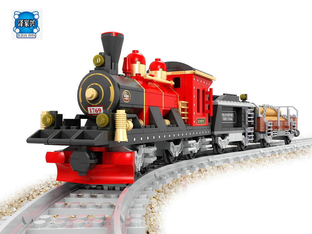 City Train Rail 009 3D Model Building Blocks Kits Compatible with Lepins Educational Model Bricks Figures Toys for Children lele my world power morse train building blocks kits classic educational children toys compatible legoinglys minecrafter 541 pcs