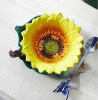 Sunflower ceramic tea coffee cup saucer set home decor crafts cups dish spoon combination porcelain figurine wedding GIFT mugs