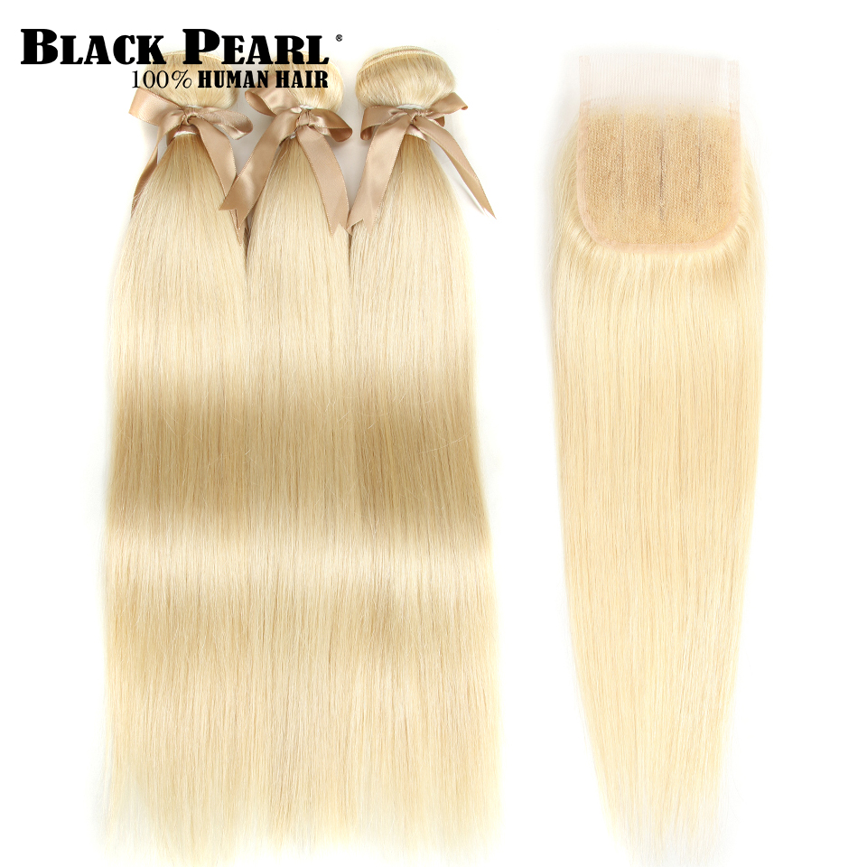 HTB1BnjXX0zvK1RkSnfoq6zMwVXa5 Black Pearl Honey Blonde Bundles With Closure Brazilian Remy Straight Human Hair 613 Bundles With Closure Free Shipping