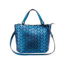Geometric Matte Folding Handbags for Women 2019 High Quality PU Leather Luxury Stylish Shoulder Bags Ladies Shopping Tote Bag stylish geometric print and zipper design women s tote bag