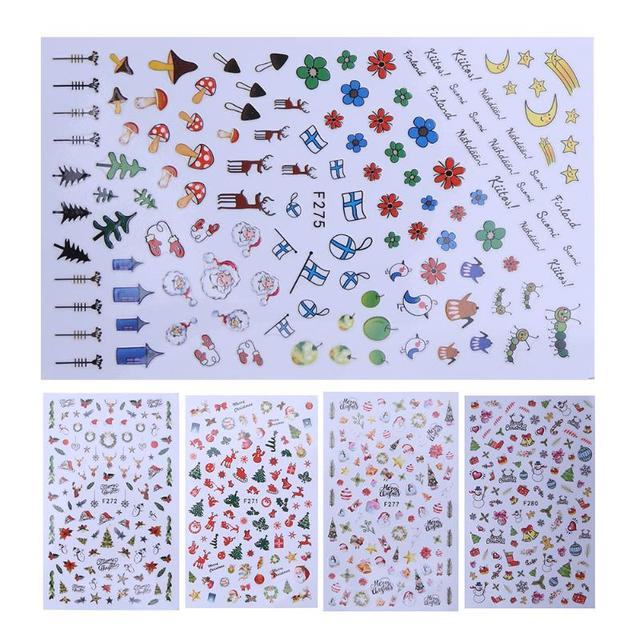 10 style halloween nail sticker xmas gift water transfer tips nail art sticker decals christmas diy decor manicure decoration