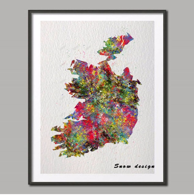 Original watercolor ireland map poster print pictures world map wall original watercolor ireland map poster print pictures world map wall art pop canvas painting home decoration gumiabroncs Image collections