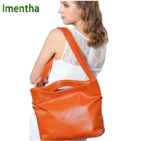 Russian style 2017 Casual tote bags for women leather handbags Top-Handle Bags Orange laday hand female bag Hobos shoulder bags