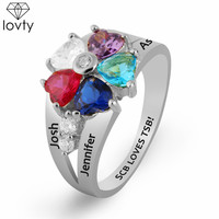 lovty Engraving Birthstone&Name Rings for Women Rose Gold Color In Silver for Her 5 Heart Birthstones Ring Size 3 14 for Mother