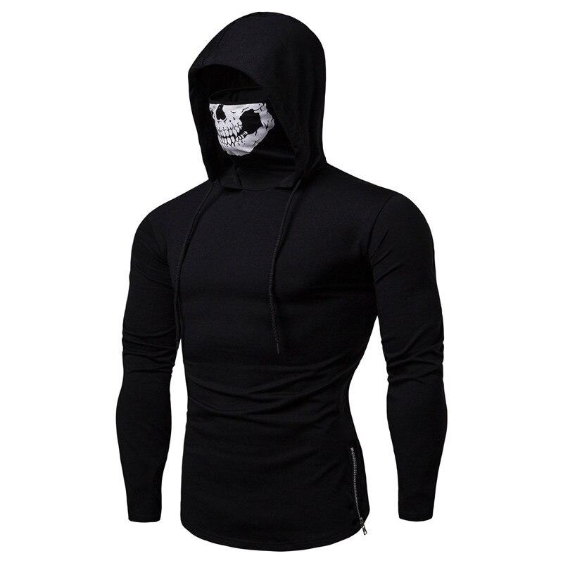 Mask Skull Hoodie Men Sweatshirt Hood Streetwear Motorcycle Face Pullover Pure Color Tracksuits Loose Hooded Sweatshirt Tops