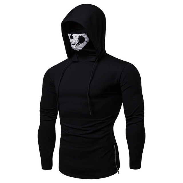 Skull Mask Stylish Hoodies color: Black|Dark Grey