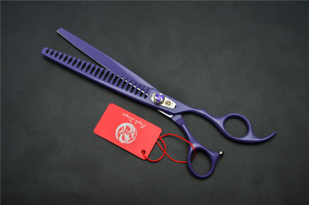 8.0'' 22.5cm Purple Dragon Professional Dogs Cats Pets Hair Shears Hairdressing Scissors 23 Teeth Fishbone Thinning Shears Z4004 9