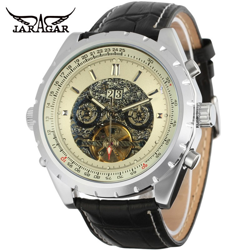 Photochromic Glass Silver Skeleton Dial Stainless Steel Bracelet Band Automatic Winding Mechanical Men's Wrist Watch cjiaba gx 502 men s stainless steel self winding mechanical wrist watch black silver