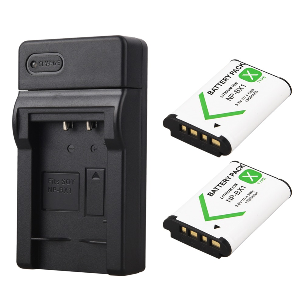 2 unids 1350 mAh NP-BX1 NP BX1 batería + cargador USB para Sony DSC RX1 RX100 M3 M2 RX1R GWP88 PJ240E AS15 WX350 WX300 HX300 HX400