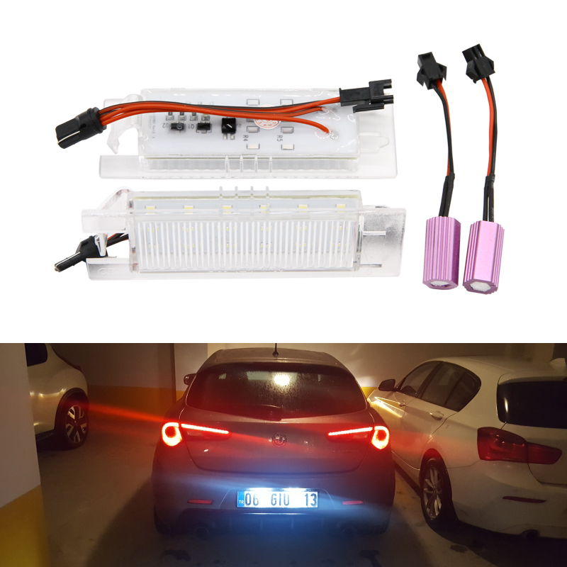 2PCs For Alfa Romeo 147 156 159 166 Brera Giulietta Mito GF Spider CANbus Led License Number Plate Lights Auto Replacement