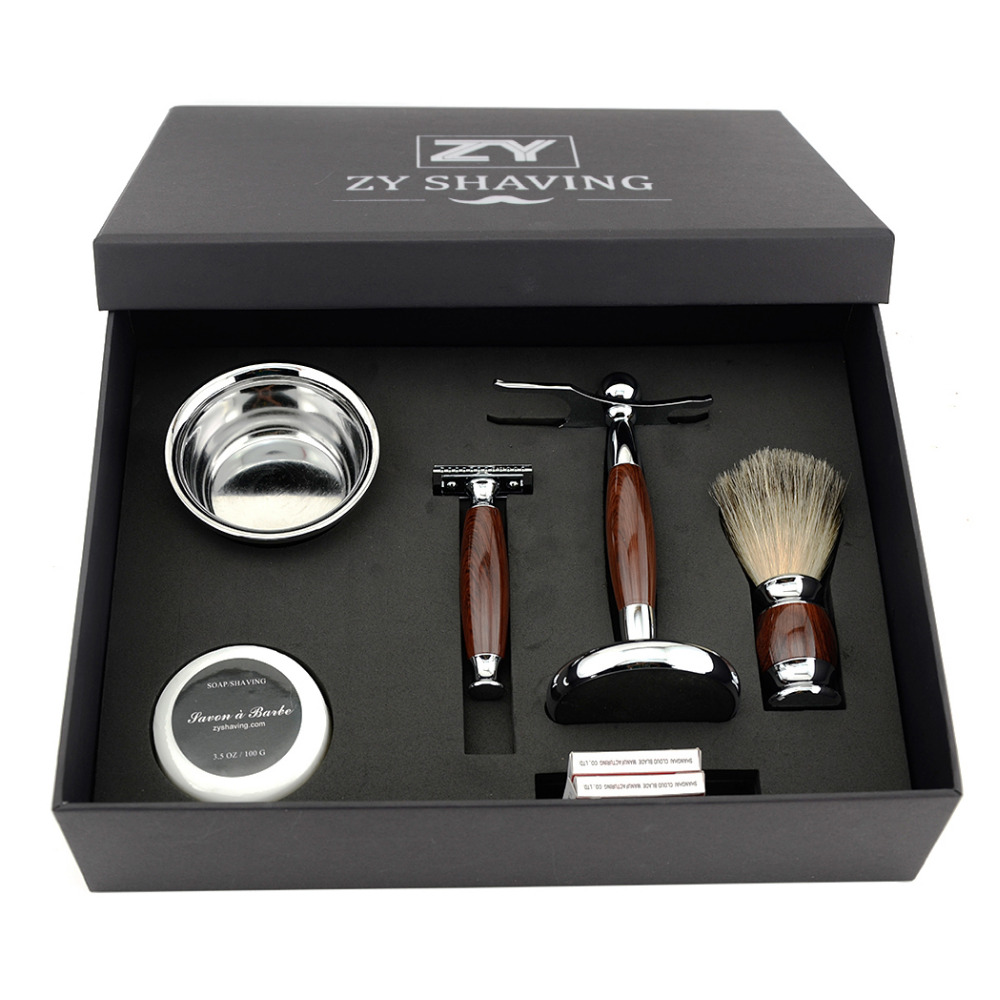 ZY Men Luxury Shaving Gift Set Kit Double Edge Safety Razor Badger Hair Shaving Brush Holder Stand +Mug Bowl +Shave Beard Soap
