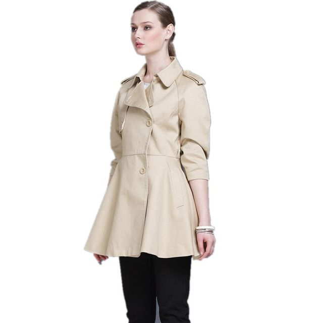 Estilo de la falda Trench Coat Para Las Mujeres 2017 Nuevo Clásico de Tres Cuartos de Las Mujeres Abrigos de Invierno de la Capa Larga Solid Mujer F354