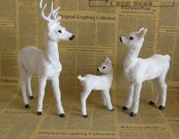 Simulation Sika Deer Model White Deer Toy One Family 3 Members Polyethylene Resin Handicraft Home Decoration