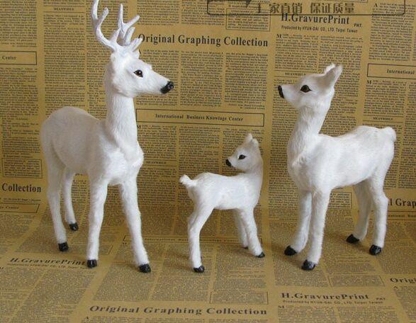 시뮬레이션 sika 사슴 모델 흰색 사슴 장난감 한 가족 3 회원, 폴리에틸렌 수지 수공예품, 가정 장식 선물 a2514-에서피규어 & 미니어처부터 홈 & 가든 의  그룹 1
