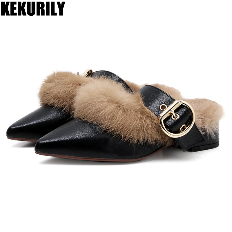 цена на Shoes Women Rabbit Fur Slippers metal buckle Slides Ladies low heels Mules Fashion Slip on Loafers Zapatos de mujer black Khaki