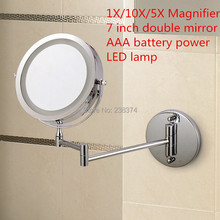 Free Shipping 7″Wall Mounted Round Magnifying Bathroom Mirror LED Makeup Cosmetic Mirror battery make up lady's private mirrors