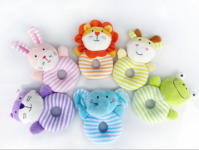 Animal Hand Bell Soft Plush Rattle Toys Boys Girls Cuddle Toddler Cartoon Infant Baby Toy Development Gifts 0-12 Months