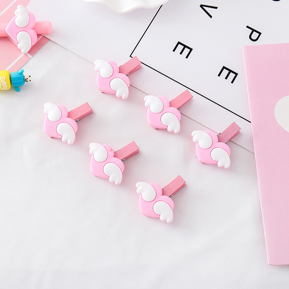 10Pcs Pink Mini Wood Memo Paper Clips Love Heart Wing Wooden Message Photo Clips Craft Decoration School Supplies
