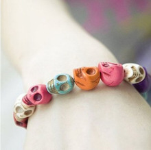 Exquisite  Color Gem Skull Tibet Buddhist Prayer Beads Bangles Mala Bracelet #5