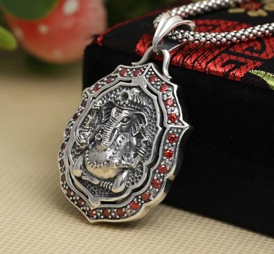 где купить Handmade 925 Silver Ganesha Buddha Pendant vintage thai silver fortune buddha amulet pendant pure silver buddha pendant man gift по лучшей цене
