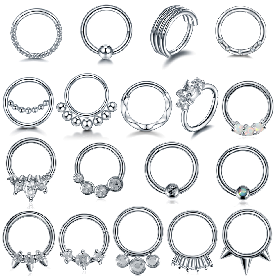 1PC Crystals Nose Rings 16G Nariz Piercings Septum Rings Opal Daith Piercings Tragus Helix Earrings Conch Hoop Piercings Jewelry in Body Jewelry from Jewelry Accessories