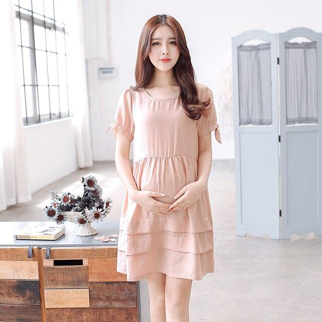 b2a760fcefb01 Pregnant Maternity Summer Short Women Dresses Cotton Linen Ruffle Pregnancy  Clothing Korean Maternity Clothes Tunic Gown 602155