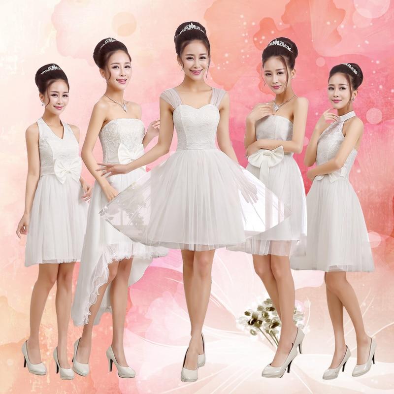 Cheap Sweet White Champagne Pink Bridesmaid Dress GZ916A8
