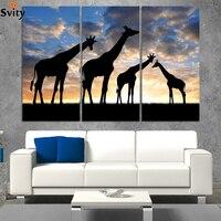 3 sztuk Abstrakcyjne Afrykański Krajobraz Zwierząt Żyrafa Modułowa Obraz zdobią Ściany Sztuki Malowania Na Płótnie dla pokoju gościnnego D046 nie rama