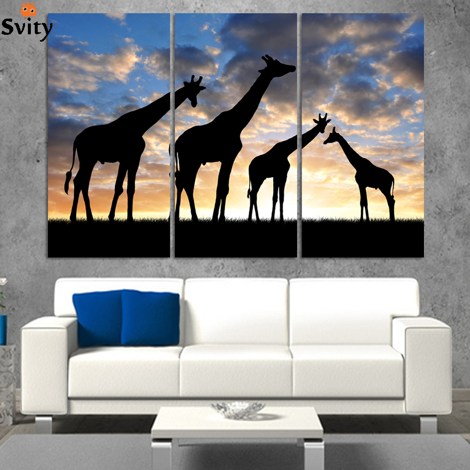 3pcs /set Abstract African Landscape Animal Giraffe Wall Art Painting On Canvas silhouette Picture Modern Home Decor Set
