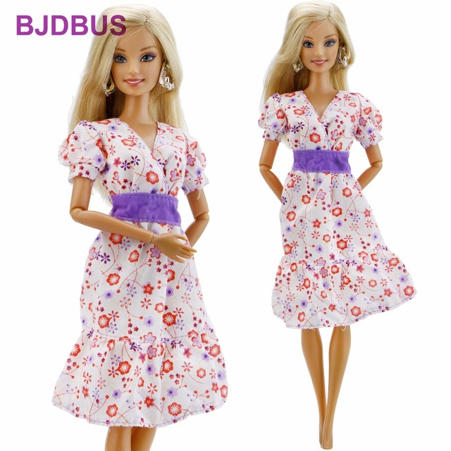 High Quality Elegant Dress V-Neck Floral Pattern Gown Casual Wear Skirt  Clothes For Barbie Doll 12   Puppet Accessories Gift Toy 588fe12ad957