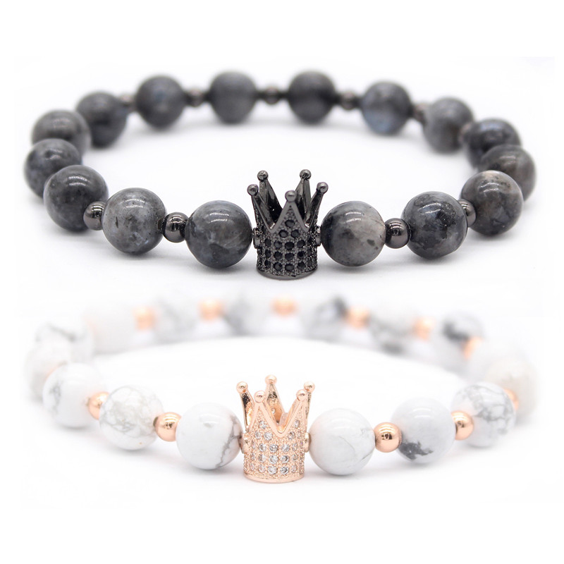Poshfeel His And Hers Couple Bracelets Distance Jewelry Cz Crown King Charm Stone Bracelet For Lovers Gift MBR180001