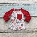 Новорожденных девочек одежда реглан топы V-day реглан девушки красное сердце регланы Осень топ девушки день Святого Валентина обледенения регланы футболка