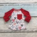 Meninas do bebê roupas raglan raglan encabeça V-dia meninas coração vermelho raglans Outono top meninas dia Dos Namorados confeiteiro raglans tshirt