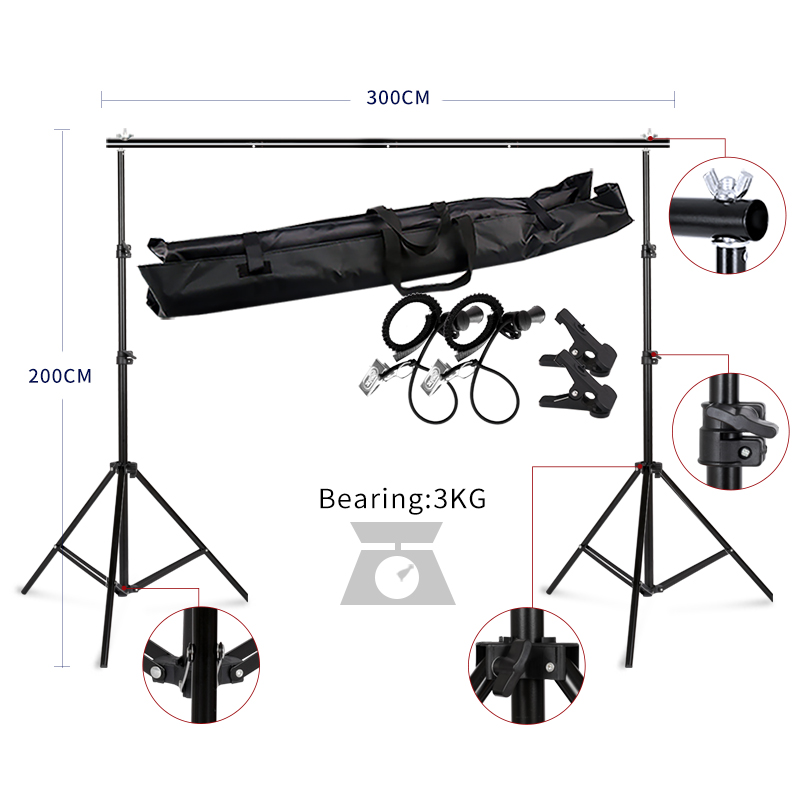2MX3M Backdrops Frame Background Support System Photography Studio Background Holder Camera & Photo Accessories + Carry Bag easter day basket branch bunny photo studio background easter photography backdrops page 2
