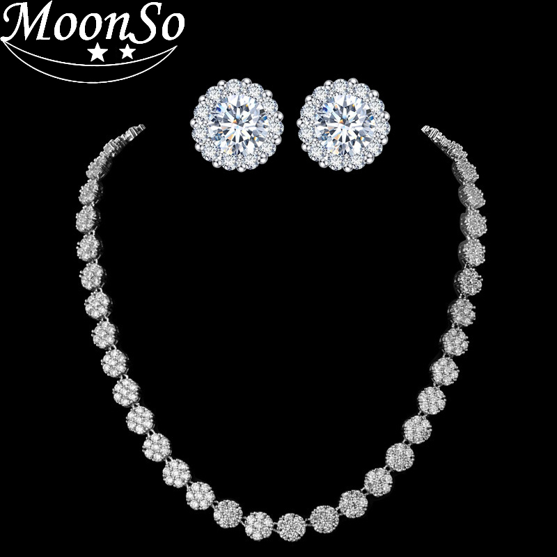 Moonso fashion 925 silver High end luxury Bridal Necklace Halo Round Pave AAA Zircon Jewelery for