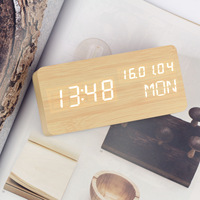 Perpetual Calendar electronic USB powered by Voice control Double display Wood clock desktop Silent Electronic clock Alarm clock