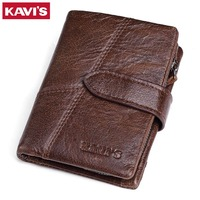 KAVIS Brand Men Genuine Leather Wallets Top Quality Coffee Color Luxury Credit Cards Purse Designer Business